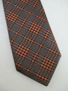 Charvet authentic gold grey black houndstooth plaid 100% silk neck tie nwt new