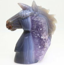 gray white stripe purple crystal agate hand carve Unicorn horse decorations M618