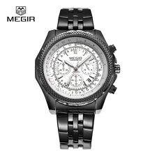Quartz Chronograph MEGIR Men's Business Casual Watch Leather Wrist Date Day 2006