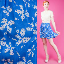 70s 80s Vtg Sky Blue Bow w/ polka dot print Silk Skirt Flirty Mini L/Xl