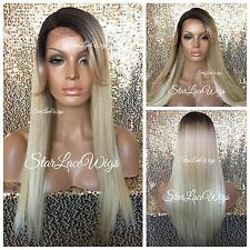 Long Straight Lace Front Wig Blonde Dark Roots Bangs Heat Safe