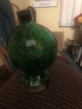 Vintage Mennen Skin Bracer After Shave Green Globe Bottle Decanter w/Cap & Label