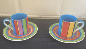 STRIPE  mini espresso coffee cup and saucer X 2 WHITTARD OF CHELSEA