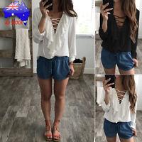 Fashion AU Women's V Neck Long Sleeve Tops Shirts Ladies Loose T-shirt Blouse
