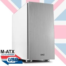 iONZ M-ATX GAMING PC COMPUTER  MID TOWER CASE COOL WHITE BRUSHED ALUMINIUM FRONT