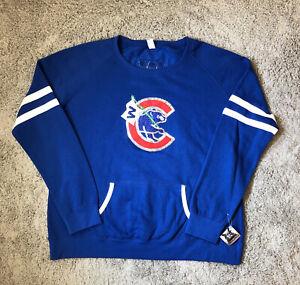 Chicago Cubs Womens Blue Hoodie Sweatshirt Sequined Trainwreck Fashion New XXL
