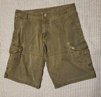 KUHL Ambush Cargo Hiking Shorts Vintage Patina Dye Olive Green Mens Size 38