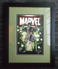 STAN LEE MORPHING INTO THE HULK 21 X 27 FRAMED MATTED PRINT LOU FERRIGNO SIGNED