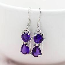 Hot Women Lovely 925 Silver Crystal Amethyst Cat Drop Dangle Earrings