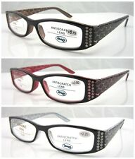 L319 Fashion Reading Glasses/Diamantes/Laser Snake Skin Pattern Arm/Spring Hinge
