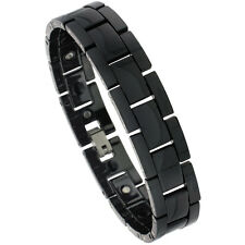 Black Tungsten Carbide Ceramic H Link Magnetic Bracelet