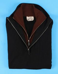 "$1895 HERMES 100% CASHMERE ""Double Collar"" 1/2 Zip Sweater - Black / Brown - M L"
