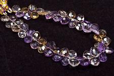 "PH-023 Ametrine Cushion Checker Faceted Gemstone Beads 8mm-9mm 99Ct 8.5"" Strand"