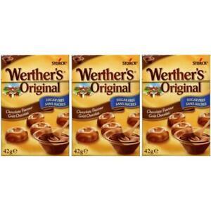 (THREE PACKS) Werthers Original Chocolate Flavour Sugar Free 42g