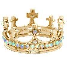 Natural Princess Queen Crown Opal 9K 9ct 375 Solid Gold Never Ending Ring