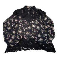 ZARA Womens Top Shirt XS Black Floral Sheer Lace Trim Long Sleeve Blouse