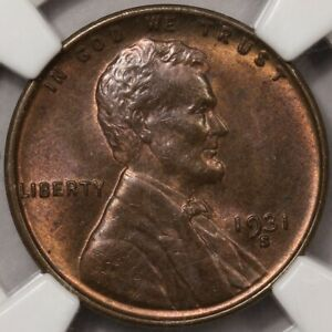 1931-S Lincoln Cent NGC MS-64 BN - Very Close to Red-Brown