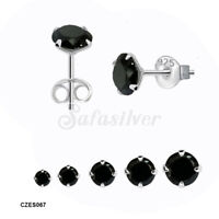 925 Sterling Silver High Quality Round Black CZ Stud Earrings