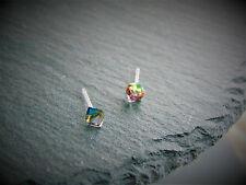 Arco Iris Cristal Pendientes Tachuelas Joya Cuadrado Metal Free Anti Alergia LGBT niños UK