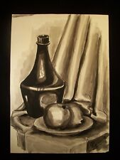 Vase and Apples Still Life 1953 Original Watercolor By C. Schattauer Kelm