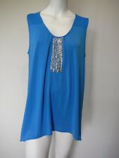 Rockmans Blue Sleeveless Tank Top Size XL Silver Beads Soft Shiny Comfy Summer