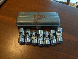 """Vintage Craftsman 3/8"""" Drive 12pt SAE Flex Head Socket Set 7pc -V- Made in USA"""