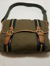 Fossil Women's Army Green Canvas Leather accents Shoulder Bag Purse Vintage