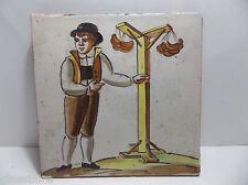 "Antique Dutch Tile SAUSAGE VENDOR Hand Painted MARKED 8"""