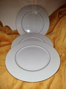 3 Elegant Excelsior Fine White Porcelain ~27cm Dinner Plates ~ Gilt detail ~ VGC