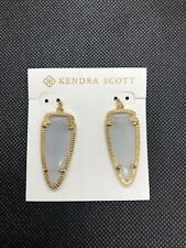 Kendra Scott Small Skylar Earrings Slate Gray Cat's Eye Catseye 14k Gold Plated