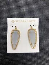 Kendra Scott Small Skylar Earrings Slate Gray Cat's Eye Catseye 14k Gold Plated
