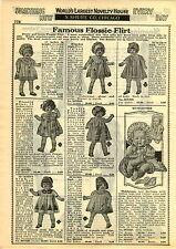 1929 PAPER AD Flossie Flirt Doll Dolls Tickletoes Human Hair Sleeping Eye