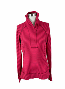Lululemon 10 Pink Stripe 1/2 Zip Thumbholes Pacesetter Pullover