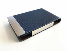 Business Card Holder Case Cover Blue Leather Silver Metal Credit Card Magnetic 1