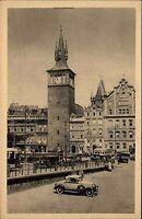 Prag Praha Tschechien alte AK mit Auto ~ 1940 Trnkovy mlýny Straßenpartie Turm
