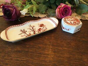 Vintage COALPORT Trinket Box, Pin Tray Indian Tree Coral Bone China England