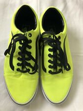 Vans Neon Yellow Black Stripe Men's Low Top Skate Shoes Sz 10 Festival
