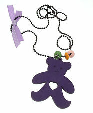 Kids Jewellery Purple black ball chain necklace large wooden teddy pendant