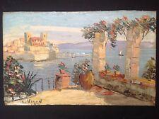 Louis Jacques Vigon (1897-1986) Marine Vue d'Antibes Huile sur bois signée