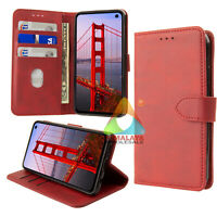PU Wallet Case for Samsung Galaxy S10 With Credit Card Holder Stand Red Leather