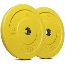 Titan Fitness Pair 25lb Olympic Bumper Plate Yellow Benchpress Strength Training