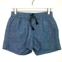 J.crew seaside shorts in chambray blue pull on drawstring size xxs new nwt