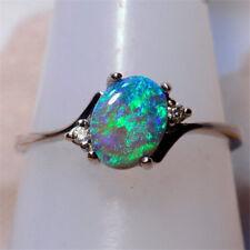 Women Vintage Green Fire Opal Gems 925 Silver Wedding Engagement Ring Size 5-11