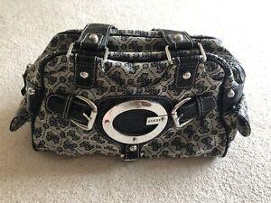 Guess Small/Medium Black Patterned Handbag (genuine)