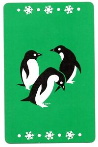 penguins birds vintage swap card playing card 1930s