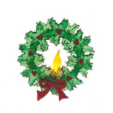 Christmas Holly Wreath Battery Operated Lighted LED Candle w/Suction Cup