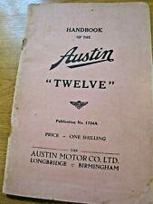 AUSTIN TWELVE HANDBOOK 1724A GOOD CONDITION - CLEAN PAGES