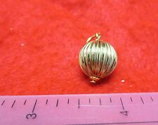 "WHOLESALE LOT OF 10 PCS OF 14KT GOLD PLATED 12MM OR 1/2"" FLUTED BALL PENDANT"
