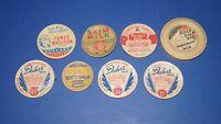 Lot of 8 Vintage Milk Bottle Caps   DECKERS , MEADOW GOLD , RIVER DALE DAIRY etc