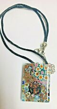MURANO GLASS Millefiori Pendant on Leather Necklace